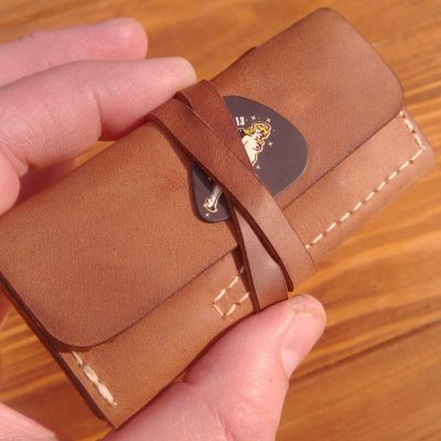 Leather guitar pick holder case with Initials